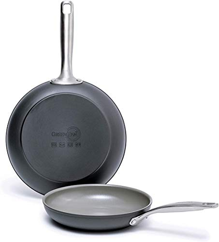 GreenPan Chatham Ceramic Non-Stick Open Frypan Set, 8 Inch and 10 Inch, Grey