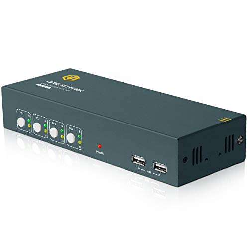 HDMI KVM Switch Dual Monitor 4 Port, 4K@60Hz (YUV 4:4:4), KVM Switch Dual Monitor with HDMI 2.0 HDCP 2.2, Hotkey Switch Supported, USB Powered, with 8 HDMI and 4 USB Cables