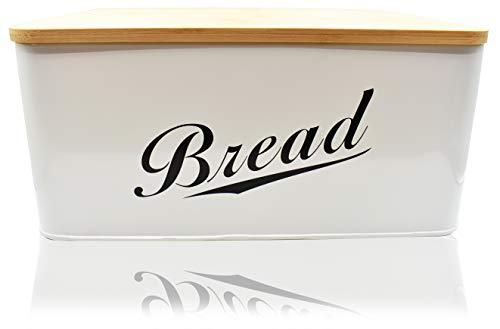Modern Metal Bread Box with Bamboo Lid by RoyalHouse