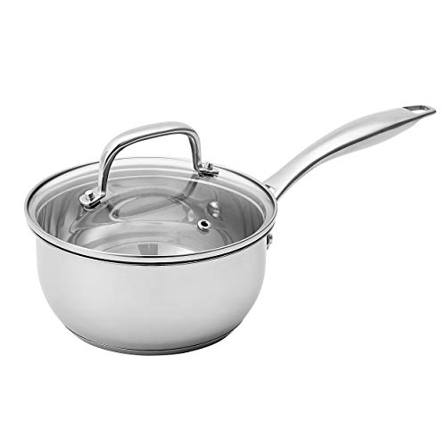 Amazon Basics Stainless Steel Sauce Pan with Lid, 1.5-Quart