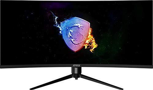 MSI 34'' Ultra Wide QHD RGB LED Non-Glare Super Narrow Bezel 1ms HDR Ready 3440 x 1440 100Hz Refresh Rate Free Sync Height Adjustable Curved Gaming Monitor (Optix MAG342CQRV), Black