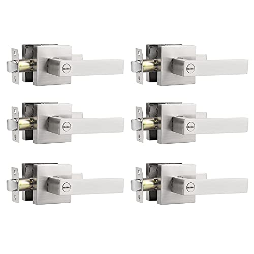 Probrico 6 Pack Privacy Door Levers for Bed and Bath,Satin Nickel Finish, Square Door Locks Interior Hardware, Keyless Feature Heavy Duty Lockset Leversets