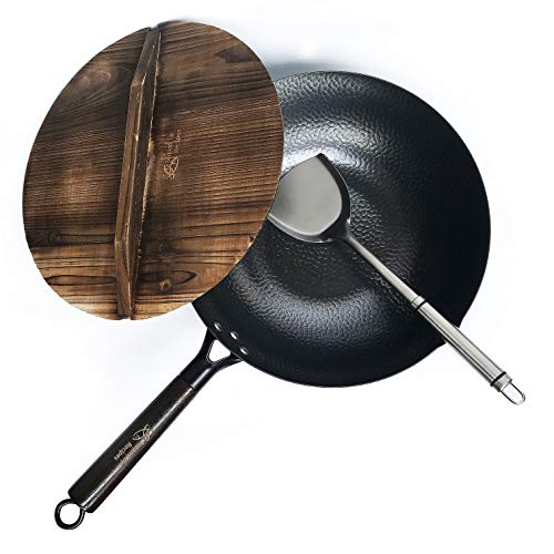 Carbon Steel Wok for Electric, Induction and Gas Stoves