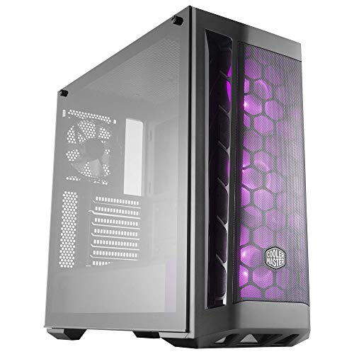 Cooler Master MasterBox MB511 RGB ATX Mid-Tower with RGB Lighting System, Three 120mm RGB Fans, Fine Mesh Front Panel, Mesh Side Intakes, and Tempered Glass
