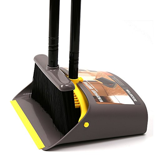 """Broom and Dustpan/Broom with Dustpan Combo Set,Standing Dustpan Dust Pan with Long Handle 40""""/52"""" for Home Kitchen Room Office Lobby Indoor Floor Cleaning Broom and Dustpan Set for Home"""