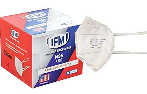 IFM INDIANA FACE MASK N95 Respirator - Box of 25, NIOSH N95, Made in USA, Particulate Respirator 95%