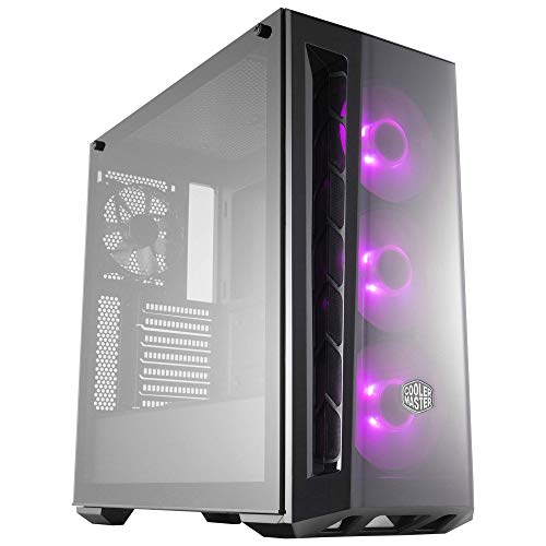 Cooler Master MasterBox MB520 RGB ATX Mid-Tower with RGB Lighting System, Three 120mm RGB Fans, Tempered Glass, Front DarkMirror Panel with Mesh Side Intakes