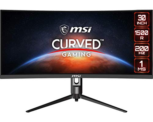 """MSI Full HD Non-Glare 1ms 2560 x 1080 Ultra Wide 200Hz Refresh Rate HDR Ready USB/DP/HDMI Smart Headset Hanger FreeSync 30""""Gaming Curved Monitor (Optix MAG301CR) - Black"""
