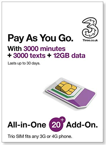 UK Three Pay As You Go 12GB