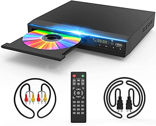 DVD Player for TV, DVD CD Player with HD 1080p Upscaling, HDMI & AV Output