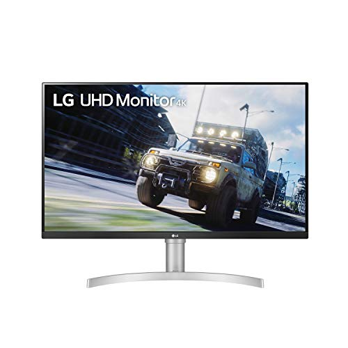 LG 32UN550-W Monitor 32' UHD (3840 x 2160) Display, DCI-P3 90% Color Gamut, HDR 10, AMD FreeSync, Borderless Design, Tilt/Height Adjustable Stand - Silver