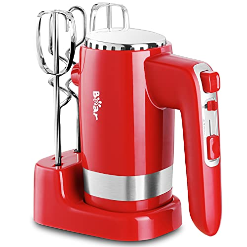 Bear Hand Mixer Electric, 2x5 Speed 300W Powerful Electric Hand Mixer with Turbo, Storage Base, 4 Stainless Steel Accessories, Eject Button, Red Hand Mixer for Whipping Dough, Cream, Cake & Cookies