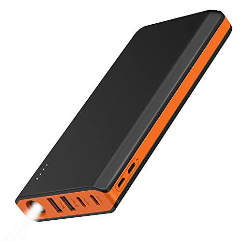 20000mAh Portable Charger USB C 4 Outputs & 2 Inputs USB C Power Bank with Flashlight External Battery Pack Charger Type C for iPhone iPad Samsung Android - Black and Orange