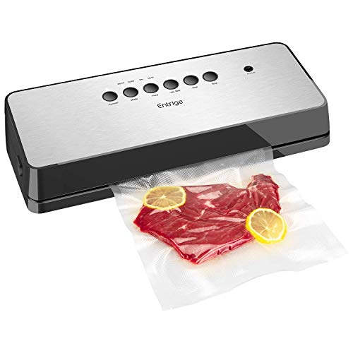 Vacuum Sealer Machine by Entrige, Automatic Food Sealer for Food Savers w /Starter Kit, Dry Moist Food Modes, Easy to Clean, Led Indicator Lights, Compact Design, Silver(Stainless Steel)