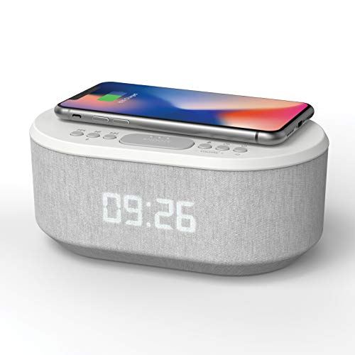 Bedside Radio Alarm Clock with USB Charger, Bluetooth Speaker, QI Wireless Charging