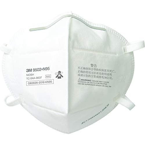 3M N95 Particulate Respirator 9502+, Disposable, Helps Protect Against Non-Oil Based Particulates, 50/Pack