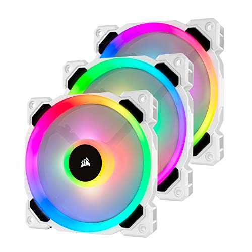 Corsair LL Series, LL120 RGB, 120mm RGB LED Fan, Triple Pack with Lighting Node PRO- White, Lighting Node PRO Included, LL120 RGB White,CO-9050092-WW