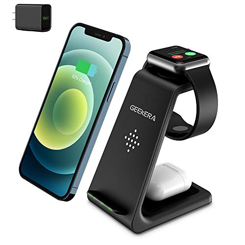GEEKERA 3 in 1 Wireless Charger Fast Charging Dock Station