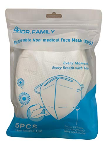 Disposable KN95 Face Masks, Non-Woven 5-Layer Disposable Mask, Elastic Ear Loops, Adjustable Nose Wire, Light Weight, Perfect for Office, 5 Units/Bag