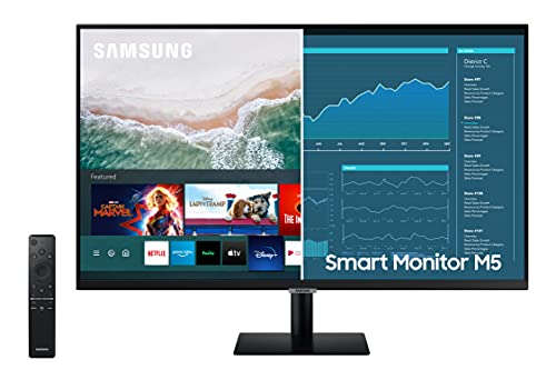 SAMSUNG M5 Series 27-Inch FHD 1080p Smart Monitor & Streaming TV (Tuner-Free), Netflix, HBO, Prime Video, & More, Apple Airplay, Bluetooth, Built-in Speakers, Remote Included (LS27AM500NNXZA)