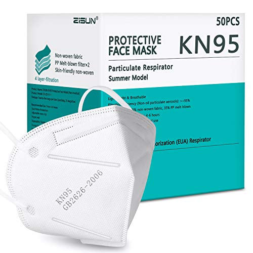 Summer Model KN95 Face Mask 50 Pack, Individually Wrapped Included on FDA EUA List, Lightweight Breathable Safety Mask, Filter Efficiency≥95%, Protective Cup Dust Masks Against PM2.5 White