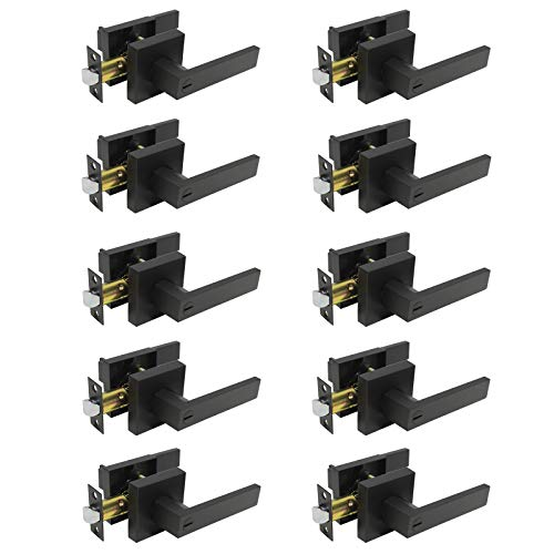 Probrico 10 Pack  Matte Black Privacy Door Levers, Heavy Duty Bed and Bath Door Locks Interior Keyless Locksets, Reversible Flat Levers with Square Rosette