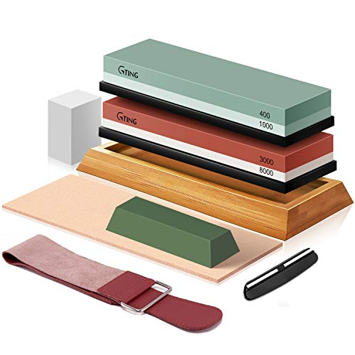 Knife Sharpening Stone Set, G-TING 400/1000 and 3000/8000 Grit