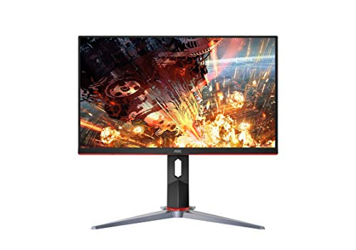 AOC 24G2 24' Frameless Gaming IPS Monitor, FHD 1080P, 1ms 144Hz, Freesync, HDMI/DP/VGA, Height Adjustable, 3-Year Zero Dead Pixel Guarantee,Black/Red