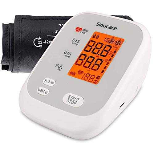 Sinocare Blood Pressure Monitor Upper Arm, Blood Pressure Cuff for Home Use with 2 Users 90 Memory, Automatic Digital BP Machine Heart Rate Pulse Monitor with Voice Function & Large LED Display