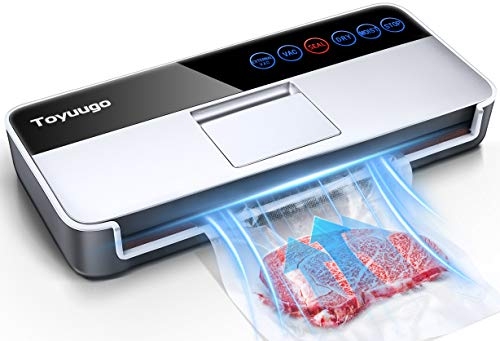 Vacuum Sealer Machine, Toyuugo Full Automatic Food Sealer (-95Kpa), Powerful Air Sealing System Machine with Dry Moist Food Modes, Led Indicator Lights/Digital Touch Controls/10 bags (Silver Grey)