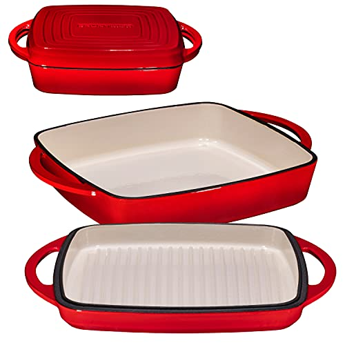 2 in 1 Enameled Cast Iron 11 Inch Square Casserole Baking Pan