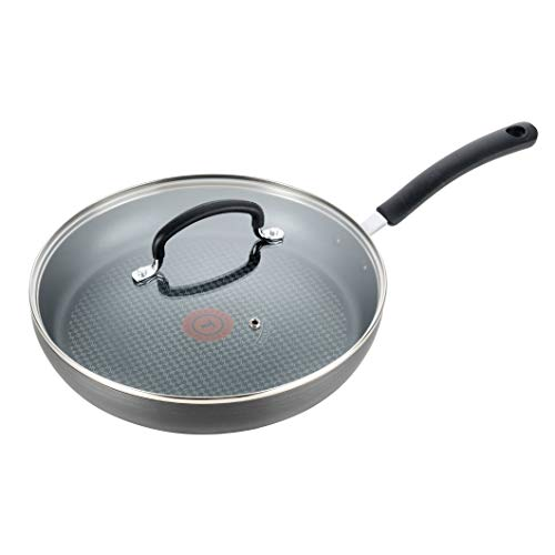 T-fal Dishwasher Safe Cookware Fry Pan with Lid Hard Anodized Titanium Nonstick