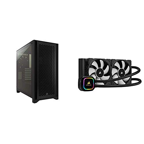 Corsair 4000D Airflow Tempered Glass Mid-Tower ATX and iCUE H100i RGB Pro XT AIO Cooler Bundle