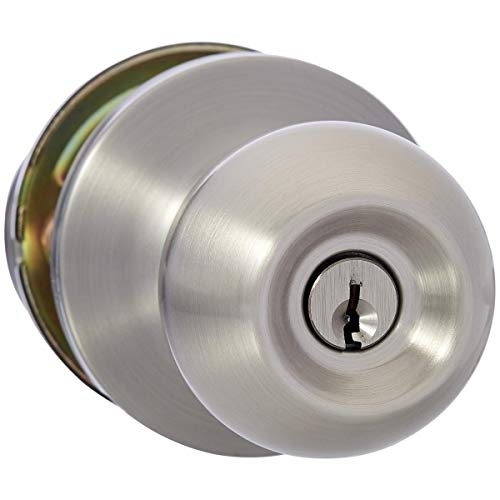 AmazonBasics Exterior Door Knob With Lock, Standard Ball, Satin Nickel