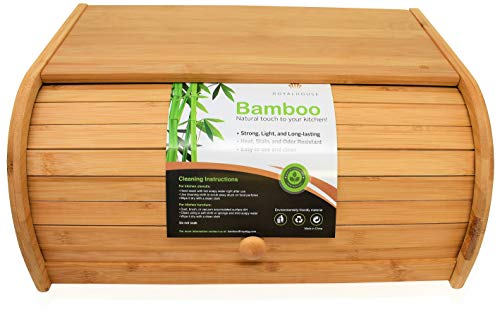Natural Bamboo Roll Top Bread Box by RoyalHouse