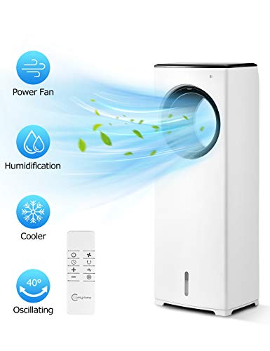 COMFYHOME 2-in-1 32' Evaporative Air Cooler & Tower Fan w/Cooling & Humidification Function, Bladeless Design, 3 Wind Speeds, 4 Modes, 40° Oscillation, 8H Timer, Remote Control for Home Office