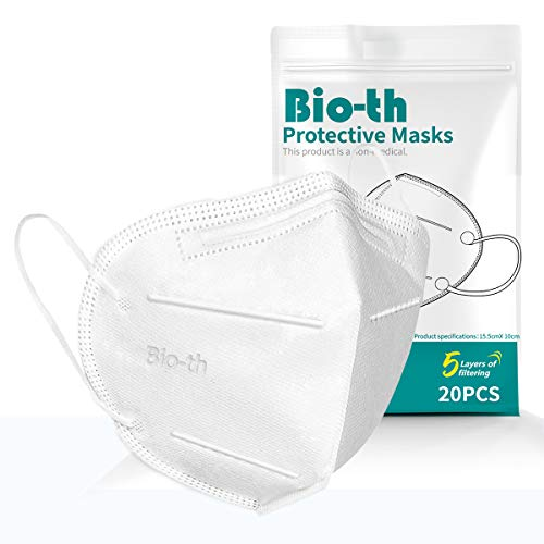 Bio-th 5 Ply Protective Face Masks, 5 Layers Double Melt-Blown Breathable and Comfortable Elastic Ear Loop with 3D Ear Rings Light Weight Pack of 20 PCS