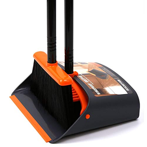 """TreeLen Broom and Dustpan/Dustpan with Broom Combo with 52"""" Long Handle for Home Kitchen Room Office Lobby Floor Use Upright Stand Up Dustpan and Broom Set"""