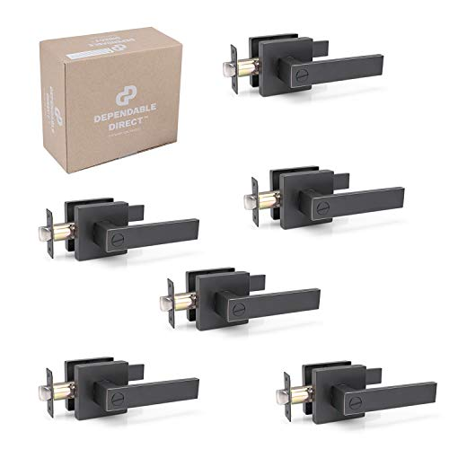 6 Pack of Contemporary Square Door Handle Lever Sets - Privacy for Bedroom, Bathroom - Oil Rubbed Bronze