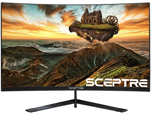 Sceptre Curved 27' Gaming Monitor up to 165Hz DisplayPort 144Hz HDMI Edge-Less AMD FreeSync Premium, Build-in Speakers Machine Black 2021 (C275B-1858RN)