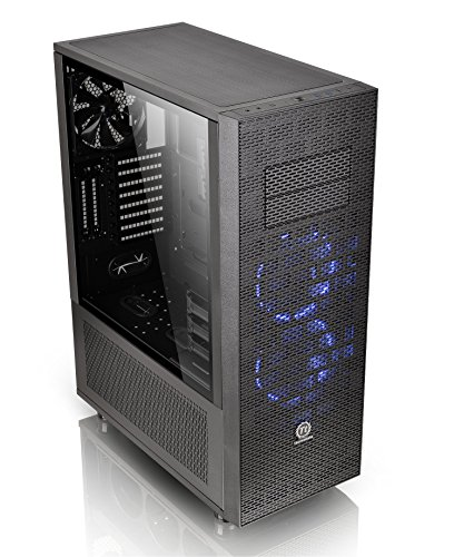 Thermaltake Core X71 Tempered Glass Edition SPCC ATX Full Tower Tt LCS Certified Gaming Computer Case with 2 140 Blue Front Fan + 1 140 Black Rear Fan Pre-Installed CA-1F8-00M1WN-02