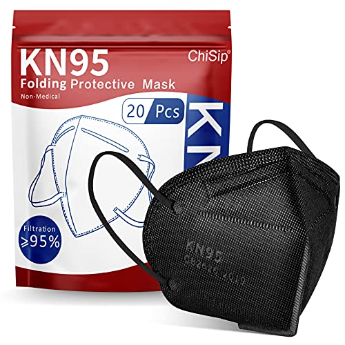 ChiSip KN95 Face Mask 20 Pcs, 5-Ply Cup Dust Safety Masks, Breathable Protection Masks Against PM2.5 for Men & Women, Black