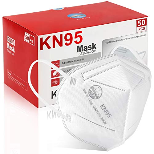 KN95 Face Mask 50Pcs, Included on FDA EUA List, 5 Layer Design Cup Dust Safety Masks, Breathable Protection Masks Against PM2.5 Dust Bulk for Adult, Men, Women, Indoor, Outdoor Use, White