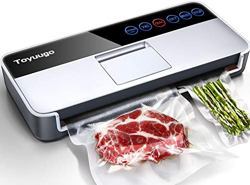Automatic Intelligent Vacuum Sealer Machine, Toyuugo 5-In-1 Food Sealer for Food Savers, (-95Kpa) Air Sealing System Machine with One-Touch Operation Dry Moist Food Modes| 10 Vacuum Bags