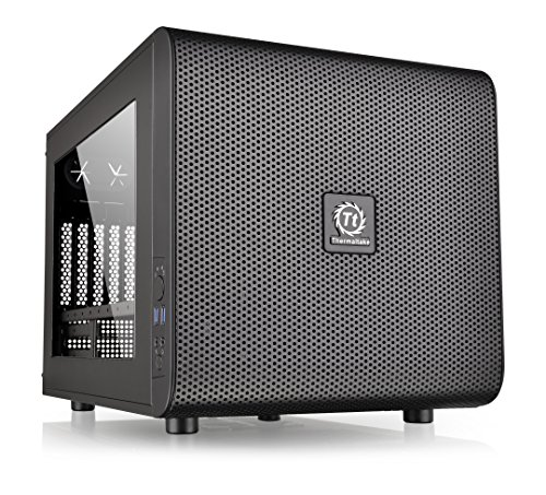 Thermaltake Core V21 SPCC Micro ATX, Mini ITX Cube Gaming Computer Case Chassis, Small Form Factor Builds, 200mm Front Fan Pre-installed, CA-1D5-00S1WN-00 Black