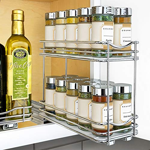 Lynk Professional Slide Out Double Spice Rack Upper Cabinet Organizer