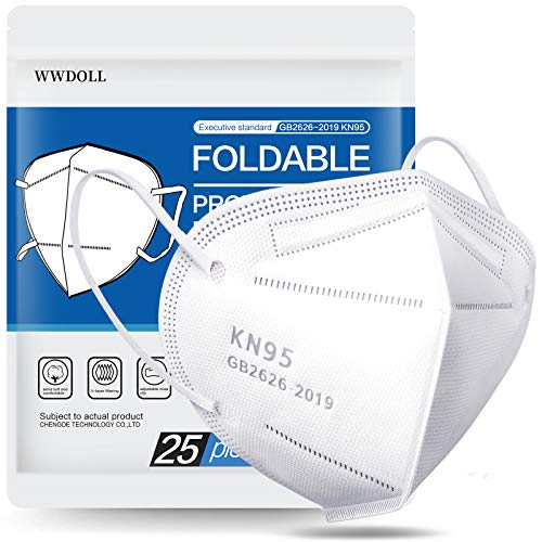 25 Pack KN95 Face Mask, Filter Efficiency≥95%, WWDOLL 5-Ply Mask Protection Against PM2.5, Fire Smoke, Breathable Mask for Women and Men White