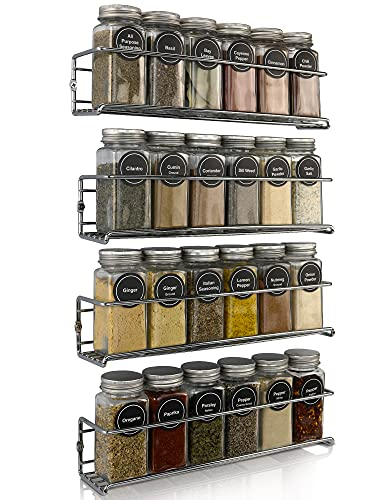 Premium Spice Rack Organizer for Cabinets or Wall Mounts