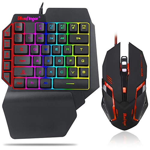 One Hand RGB Gaming Keyboard and Backlit Mouse Combo