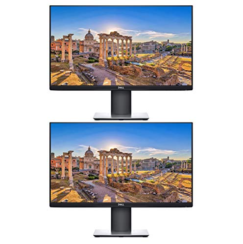 Dell P2419H 24 Inch LED-Backlit, Anti-Glare, 3H Hard Coating IPS Monitor - (5 ms Response, FHD 1920 x 1080 at 60Hz, 1000:1 Contrast, with DisplayPort, VGA, HDMI 2-Pack Bundle - Black